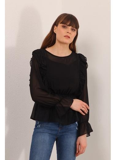 Reyon Fırfırlı Şifon Bluz Siyah Siyah